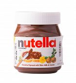 DEPEW, OK, USA - January 19th, 2015: Jar of Nutella Hazelnut spread. Nutella is manufactured by the Italian company Ferrero, it was introduced to the market in 1964.