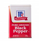DEPEW, OK, USA - January 19th, 2015: Container of Ground Black Pepper made by McCormick. McCormick manufactures spices, herbs, and flavorings, and was founded in 1889 in Baltimore, Maryland, USA.