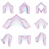 Abstract geometrical line vector icons for arch