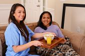 picture of health  - Home health care worker and an adult woman - JPG