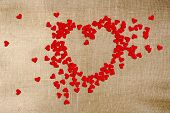 Greeting Card Valentines Day  Paper Hearts, Scattered On Canvas