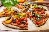 stock photo of whole-grain  - Super Healthy Vegan Whole Grain Vegetables and Mushrooms Pizza - JPG