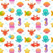 Cute sea animals seamless pattern