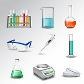 image of beaker  - Laboratory glass equipment realistic decorative icons set with flasks beakers and pipette isolated vector illustration - JPG
