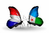 Two Butterflies With Flags On Wings As Symbol Of Relations Holland And Djibouti