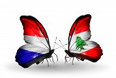 Two Butterflies With Flags On Wings As Symbol Of Relations Holland And Lebanon