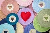 Red Love Valentine Heart Symbol On Ribbon Rolls
