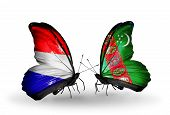 pic of holland flag  - Two butterflies with flags on wings as symbol of relations Holland and Turkmenistan - JPG