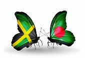 Two Butterflies With Flags On Wings As Symbol Of Relations Jamaica And  Bangladesh