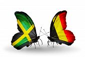 Two Butterflies With Flags On Wings As Symbol Of Relations Jamaica And  Belgium