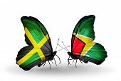 Two Butterflies With Flags On Wings As Symbol Of Relations Jamaica And Guyana