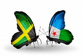 Two Butterflies With Flags On Wings As Symbol Of Relations Jamaica And Djibouti