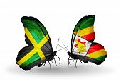 Two Butterflies With Flags On Wings As Symbol Of Relations Jamaica And  Zimbabwe