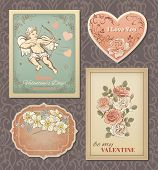 Valentine vintage cards collection. Vector eps 10.