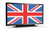 TV with British Flag (clipping path included)