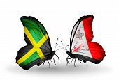 Two Butterflies With Flags On Wings As Symbol Of Relations Jamaica And Malta