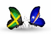 Two Butterflies With Flags On Wings As Symbol Of Relations Jamaica And Marshall Islands