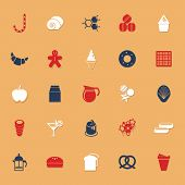 Sweet Food Classic Color Icons With Shadow