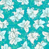 White lilies. Seamless pattern seagreen background. Good for textile printing