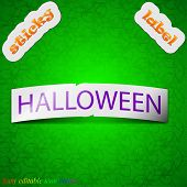 Halloween Icon Sign. Symbol Chic Colored Sticky Label On Green Background. Vector