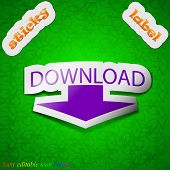 Download Icon Sign. Symbol Chic Colored Sticky Label On Green Background. Vector