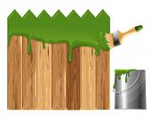 Wooden fence painting maintenance by green, bucket of paint and brush. Vector illustration. Isolated on white background.