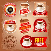 Set of happy hour and free coffee labels for restaurant, bar, cafe.