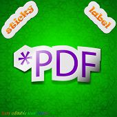 Pdf File Extension Icon Sign. Symbol Chic Colored Sticky Label On Green Background. Vector