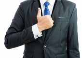 Businessman Show Hand With Thumb Up Isolate