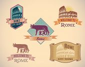 Set of retro-styled Rome city tour labels. Raster image.