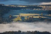 Morning Fog In The Valley In The Austrian Alps