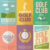picture of clubbing  - Golf club competition tournament mini poster flat set isolated vector illustration - JPG