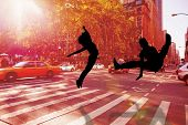 Cool break dancer against new york street