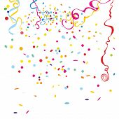 picture of confetti  - An illustration of colourful confetti rain on white isolated background - JPG