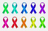 Set of colorful awareness ribbons isolated on white background. Vector illustration eps10.