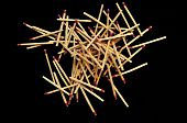 Pile Of Matches Isolated On Black