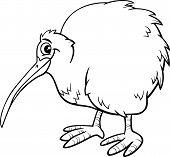 Kiwi Bird Cartoon Coloring Page