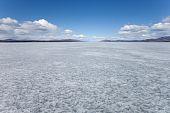 Frozen Lake Laberge, Yukon T., Canada