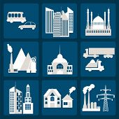 Set Of Icons Infrastructure City
