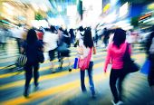 picture of pedestrian crossing  - Hong Kong People Commuters Road Crossing Pedestrian Concept - JPG