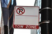 Blank No Parking Tow Zone Sign