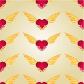 Seamless Texture Heart With Wings And Roses Vector