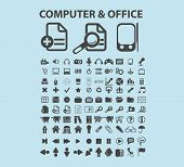 computer, office, devices, administration icons, signs, vector illustrations