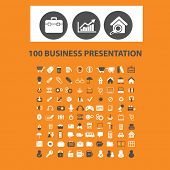 100 business presentation icons, signs, vector illustrations