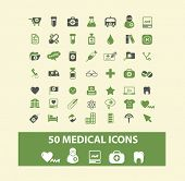50 medical, health, doctor web icons, signs, illustration isolated on background set, vector
