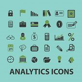 business analytics, presentation, bank, financial web icons, signs, illustration isolated on background set, vector