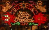Mexico City Zocalo Christmas Night Feliz Navidad Sign