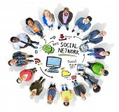 Social Network Social Media People Looking Up Concept