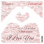 Vector concept or conceptual red love or Valentine wordcloud or text in shape of hand heart isolated on white background
