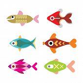 Aquarium Fish Vector Icon Set